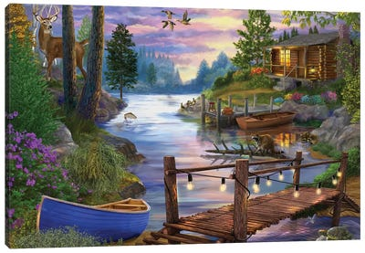 Footbridge by the Lake Canvas Art Print