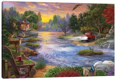 Headlights on the Lake Canvas Art Print