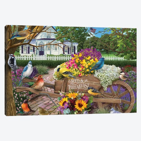 Bed and Breakfast Birds Canvas Print #BII2} by Bigelow Illustrations Canvas Wall Art