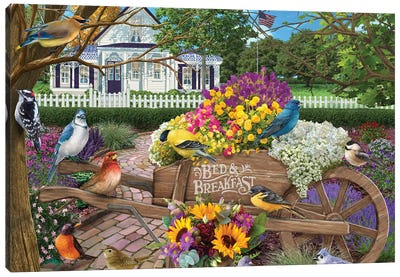 Bed and Breakfast Birds Canvas Art Print