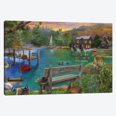 Lakeside View From The Bench Canvas Print #BII34} by Bigelow Illustrations Canvas Artwork