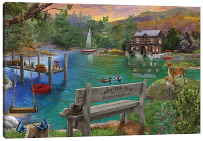 Lakeside View From The Bench Canvas Art Print