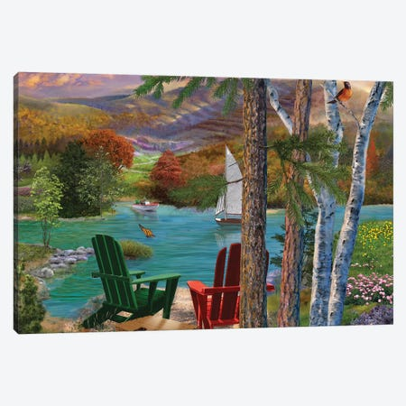 Lakeside View From The Chairs Canvas Print #BII35} by Bigelow Illustrations Canvas Artwork