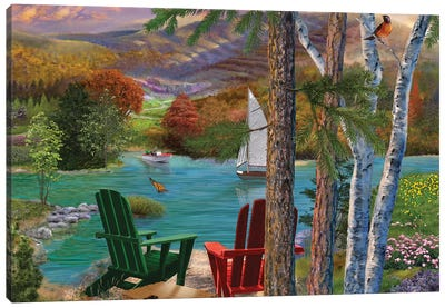 Lakeside View From The Chairs Canvas Art Print
