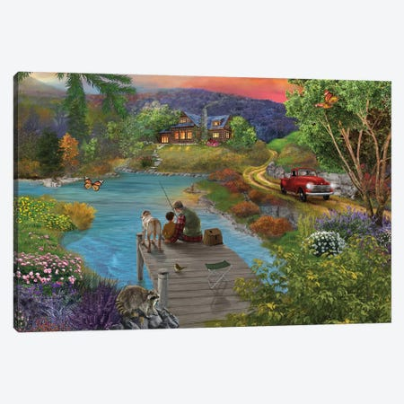 Lakeside View From The Dock Canvas Print #BII36} by Bigelow Illustrations Canvas Wall Art