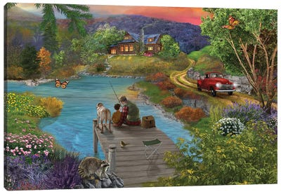 Lakeside View From The Dock Canvas Art Print