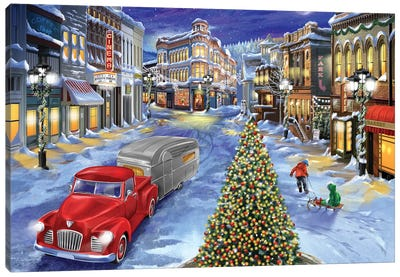 Main Street Christmas Canvas Art Print
