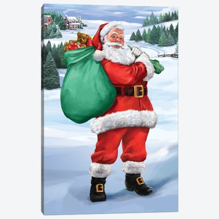 Santa Country Canvas Print #BII46} by Bigelow Illustrations Canvas Print