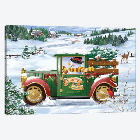 Snowman Delivery Canvas Print #BII48} by Bigelow Illustrations Canvas Artwork