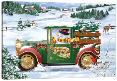 Snowman Delivery Canvas Art Print
