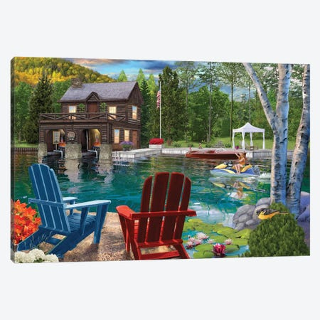 Summer at the Boathouse Canvas Print #BII51} by Bigelow Illustrations Canvas Print