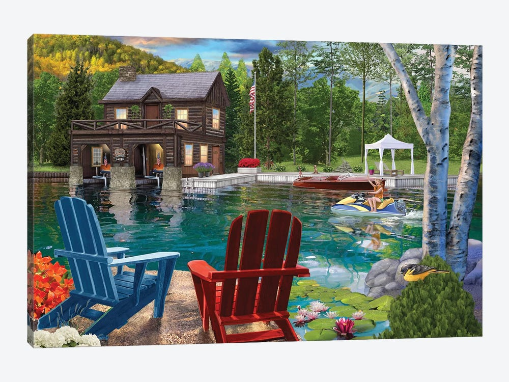 Summer at the Boathouse by Bigelow Illustrations 1-piece Canvas Art Print