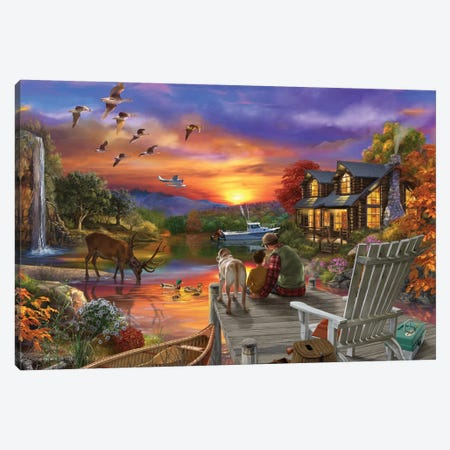 Sunset Cabin 11-25 3-Piece Canvas #BII52} by Bigelow Illustrations Canvas Print