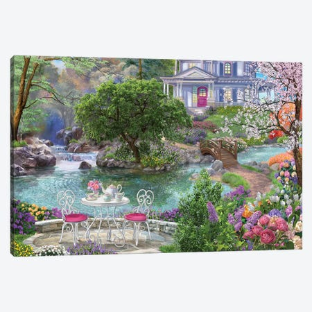 Waterside Tea Canvas Print #BII56} by Bigelow Illustrations Canvas Art