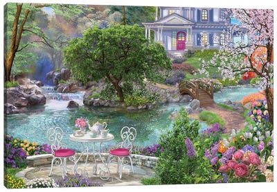 Waterside Tea Canvas Art Print