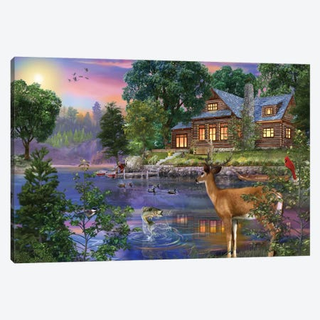 White Tail Deer Lakehouse Canvas Print #BII57} by Bigelow Illustrations Canvas Wall Art