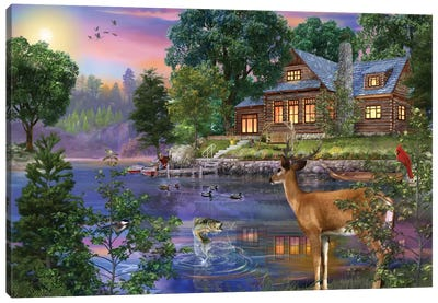 White Tail Deer Lakehouse Canvas Art Print
