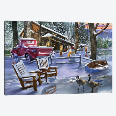 Winter Cabin Canvas Print #BII58} by Bigelow Illustrations Art Print