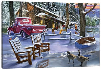 Winter Cabin Canvas Art Print