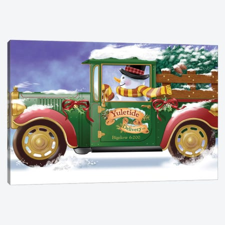 Yuletide Delivery Canvas Print #BII59} by Bigelow Illustrations Art Print