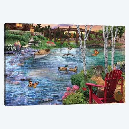 Bridge Fishing Canvas Print #BII6} by Bigelow Illustrations Canvas Print