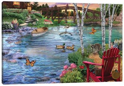 Bridge Fishing Canvas Art Print