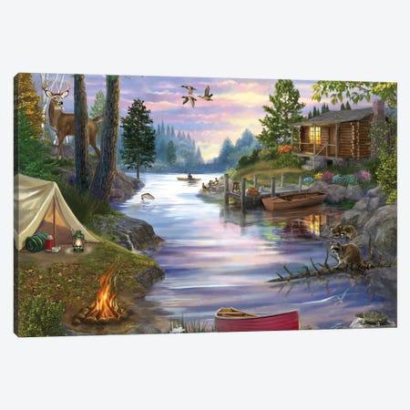Cabin Lake Canvas Print #BII9} by Bigelow Illustrations Canvas Wall Art