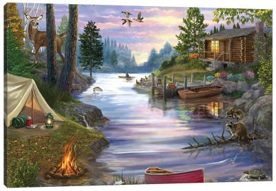 Cabin Lake Canvas Art Print