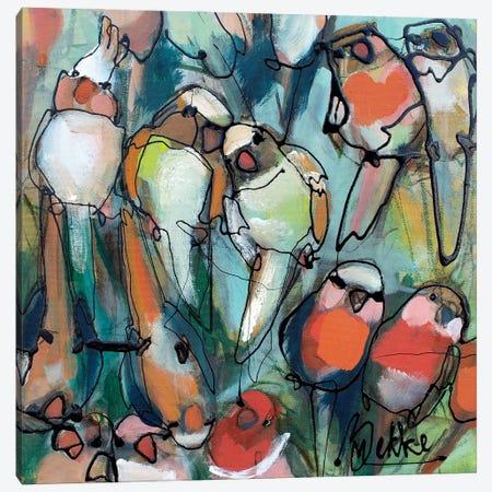 Parrooties Canvas Print #BKE13} by Marieke Bekke Canvas Wall Art