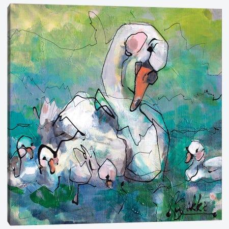 Swan Fam Canvas Print #BKE17} by Marieke Bekke Canvas Print