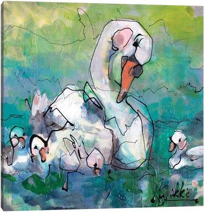 Swan Fam Canvas Art Print