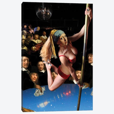 Girl With Pearl Earring And Pole Canvas Print #BKI16} by Barry Kite Art Print