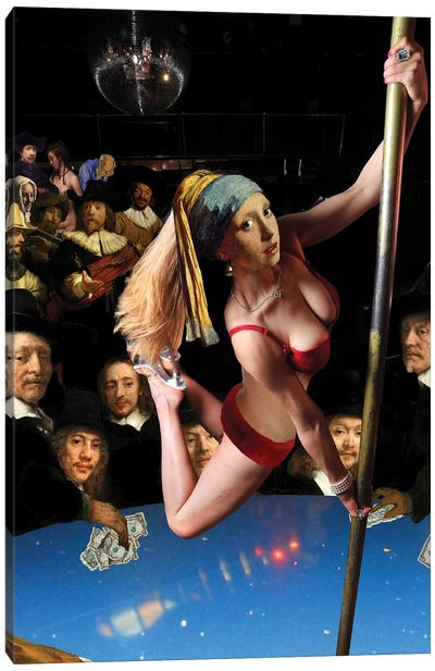 Girl With Pearl Earring And Pole Canvas Art Print