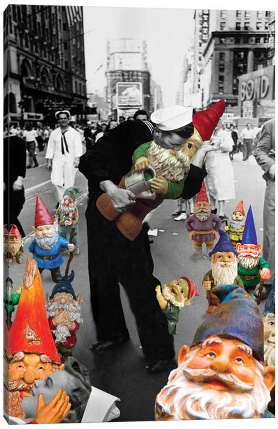 Garden Gnomes On V-J Day Canvas Art Print