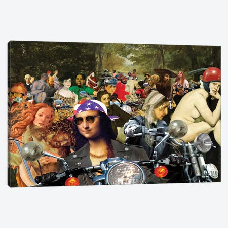 Bikers Sur L'Herbe Canvas Print #BKI8} by Barry Kite Canvas Artwork
