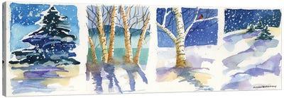 Birch  Quadtych Canvas Art Print