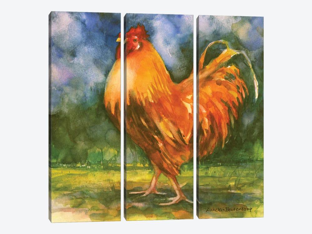 Rooster Field by Annelein Beukenkamp 3-piece Canvas Print