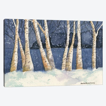 Birch, Snowy Night Canvas Print #BKK15} by Annelein Beukenkamp Canvas Art Print