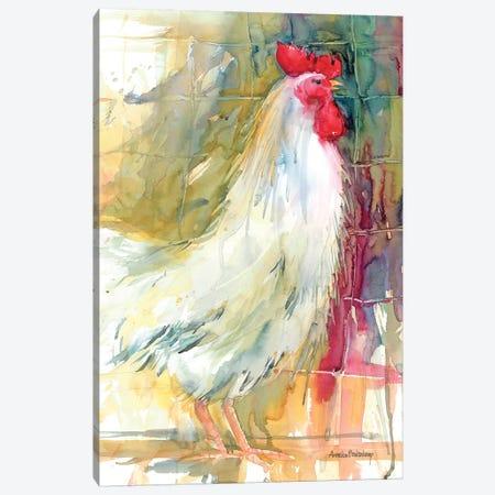 White Rooster Canvas Print #BKK187} by Annelein Beukenkamp Canvas Artwork