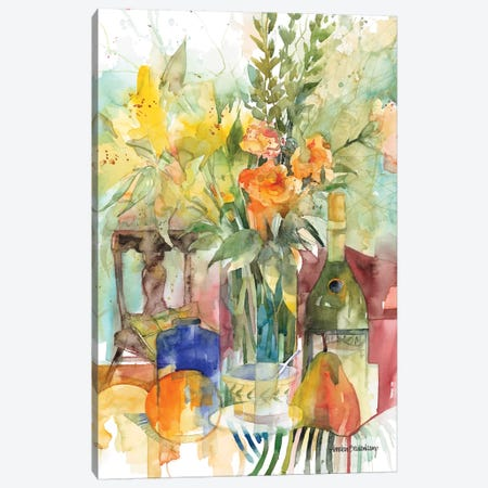 Blue Bottle Canvas Print #BKK18} by Annelein Beukenkamp Canvas Wall Art