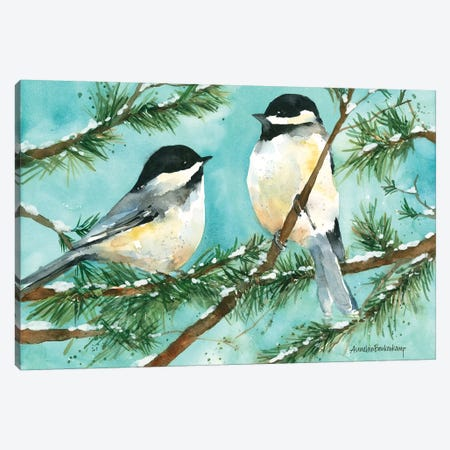 Chickadee Chat Canvas Print #BKK29} by Annelein Beukenkamp Art Print