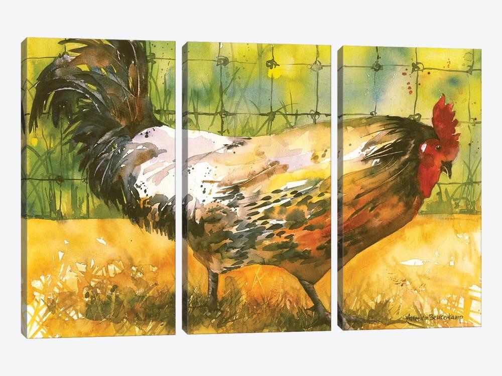 Chicken Fence by Annelein Beukenkamp 3-piece Canvas Print