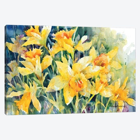 Daffodil Party Canvas Print #BKK40} by Annelein Beukenkamp Art Print