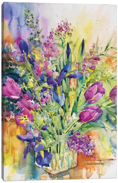 Iris Blue And Tulips Too Canvas Art Print