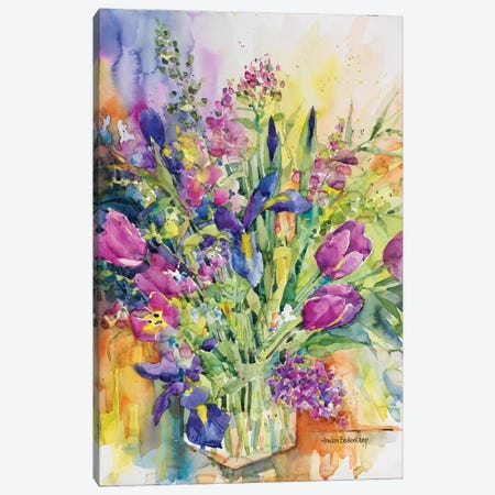 Iris Blue And Tulips Too Canvas Print #BKK79} by Annelein Beukenkamp Canvas Wall Art
