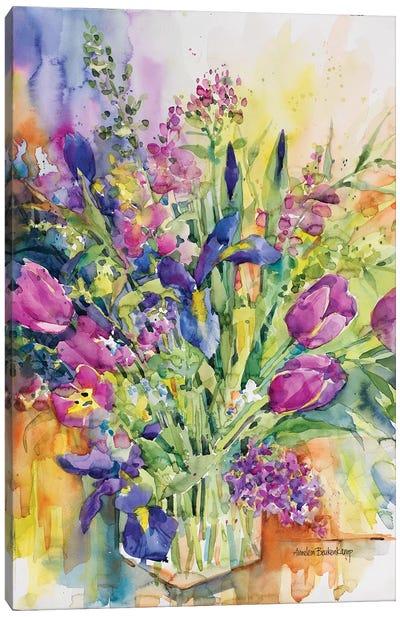 Iris Blue And Tulips Too Canvas Art Print