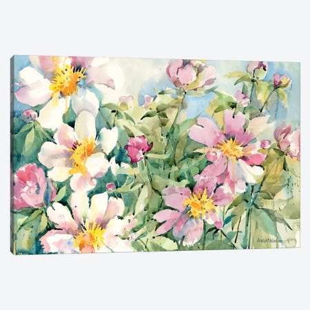 Palette Of Peonies Canvas Print #BKK97} by Annelein Beukenkamp Art Print