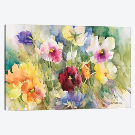 Pansies Posing Canvas Print #BKK98} by Annelein Beukenkamp Canvas Artwork