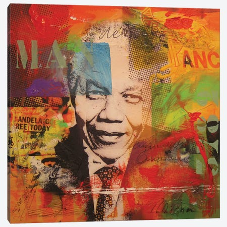 Mandela Canvas Print #BKR36} by Micha Baker Canvas Wall Art