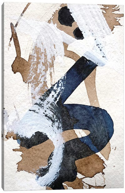 Indigo & Walnut Gesture Study I Canvas Art Print
